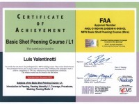 Shot peening FAA certificate Level 1