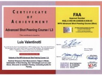 Shot peening FAA certificate Level 3